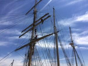 Masts on STS Leeuwin II tall ship in Perth, Australia