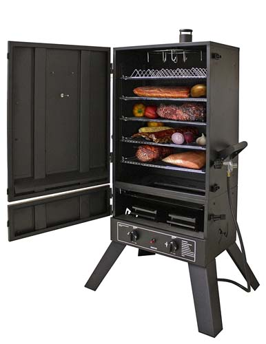 46 inch vertical gas smoker open