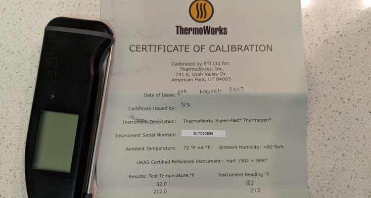thermoworks certificate of calibration