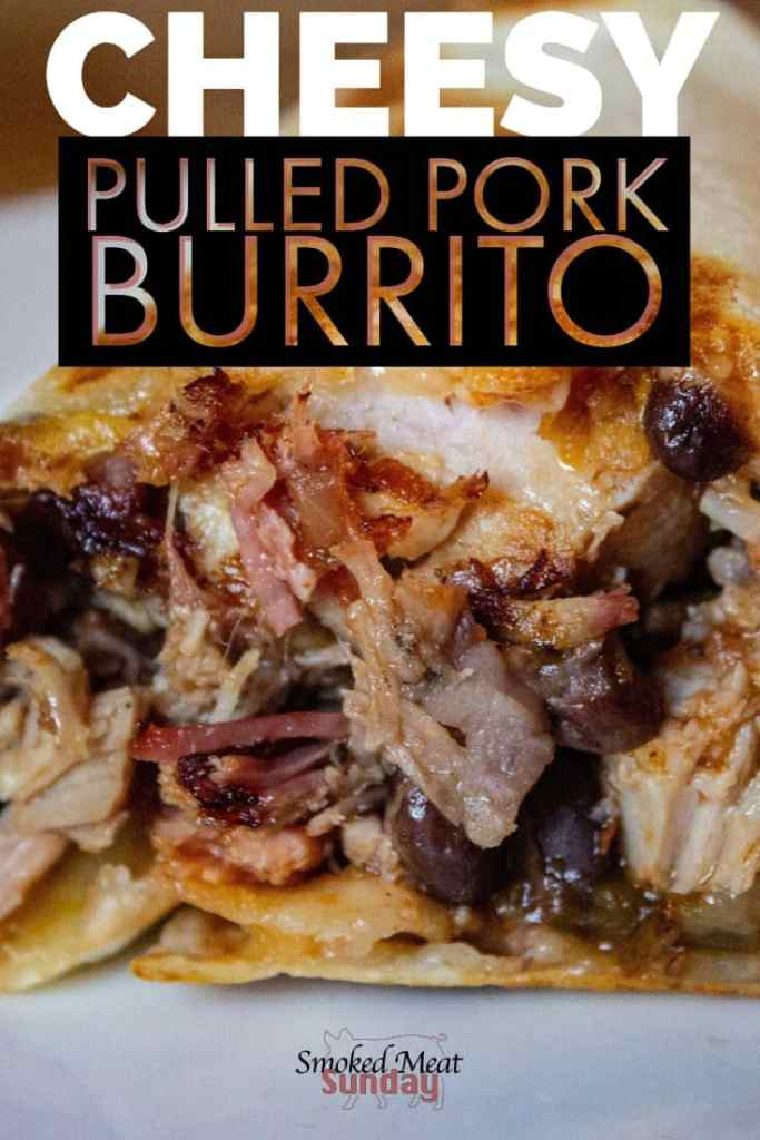 If you like pulled pork and you like Mexican food you'll LOVE these cheesy pulled pork burritos! #burrito #pulledpork #smokedmeat #pelletgrill