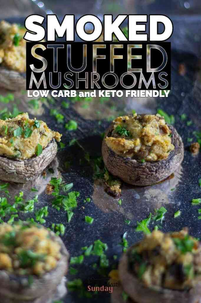 Low carb and keto friendly stuffed mushrooms are a must have super bowl appetizer - Snacks for the super bowl - Smoked Appetizers #traegerrecipes #bbq #mushrooms