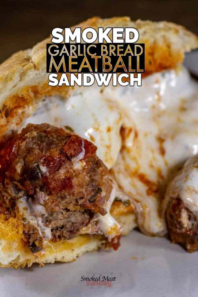 How to make smoked Italian meatballs and the best meatball sandwich you've ever tasted. Smoked meatball sandwich - made on a Traeger, this meatball sub on a loaf of buttery garlic bread is a must try. #smokedfood #comfortfood