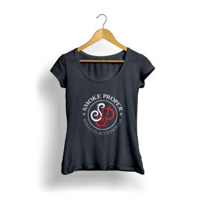 Girls Black T-shirt white/red logo | Smoke Proper Rolling Accessories