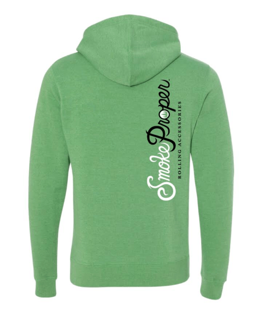 Green Hoodie Black text (back) | Smoke Proper Rolling Accessories