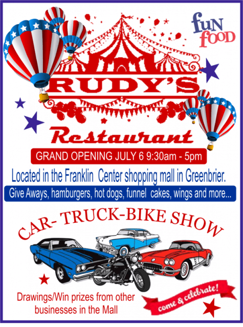 Rudys grand opening flyer