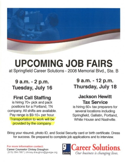 Job fair flyer july 2013