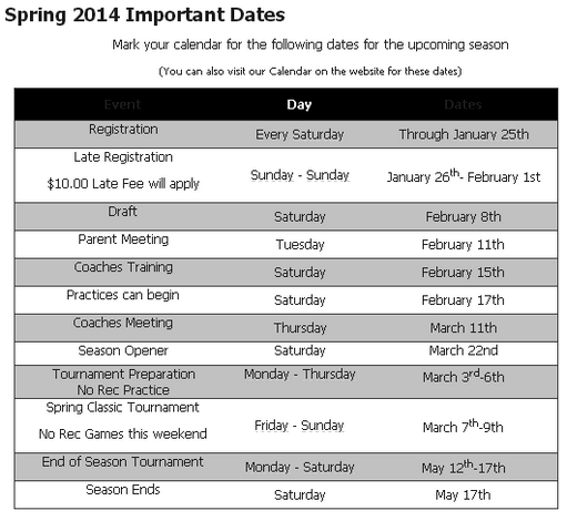 spring wh soccer dates