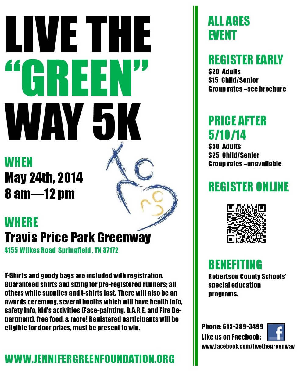 """3rd Annual Live The """"Green"""" Way 5k To Support Special"""