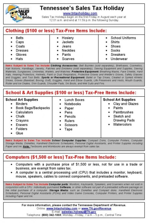Tax holiday overview flyer a