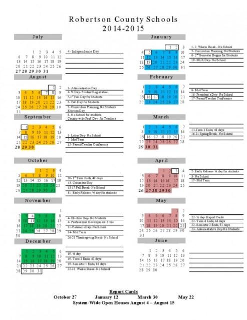school calendar for 2014-2015