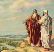 Abraham talking with servant