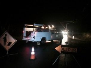 road blocked power line
