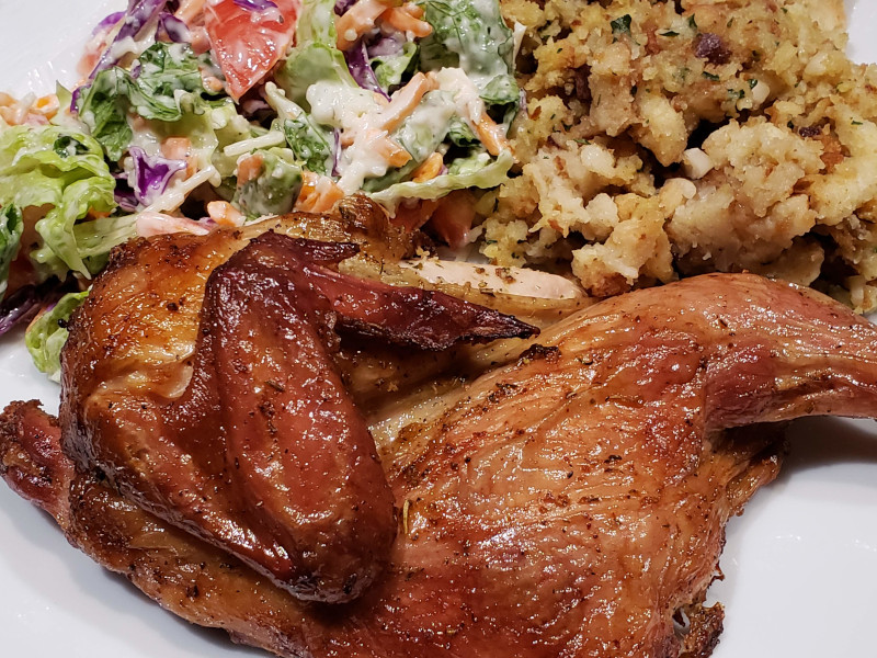 Smoked Cornish Hen with sides