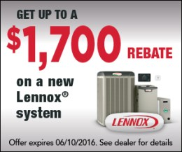 Get up to a $1,700 rebate on a new qualifying Lennox System from Smoky Mountain Heating & Air