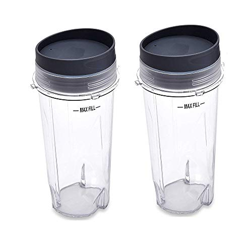 Anbige Replacement Parts for Ninja Blender 16oz Cup with Lid Fit for Ninja Series BL770 BL660 BL810 QB3000 All Pro 4 Tab Blenders 2 cups + 2 sip/&seal lids