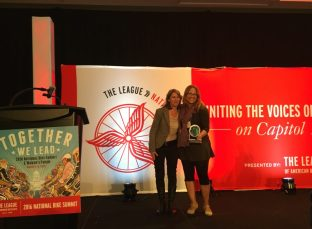 Cynthia Rose (right) accepts the Susie Stephens Joyful Enthusiasm Award.