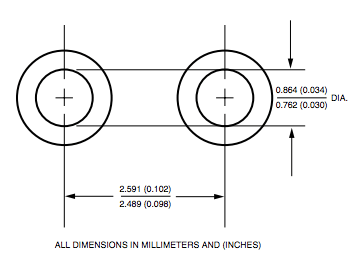 PCB hole diameter for AI