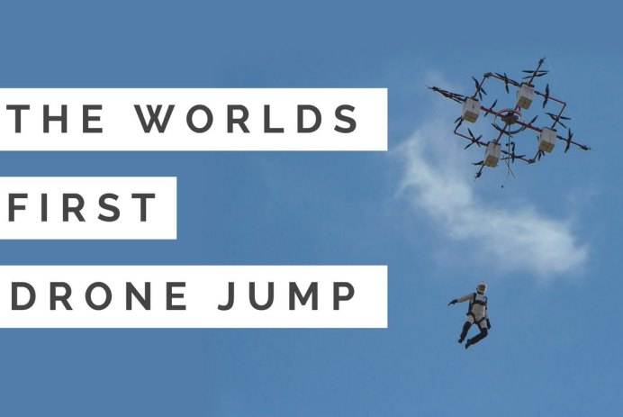 premier saut en parachute drone