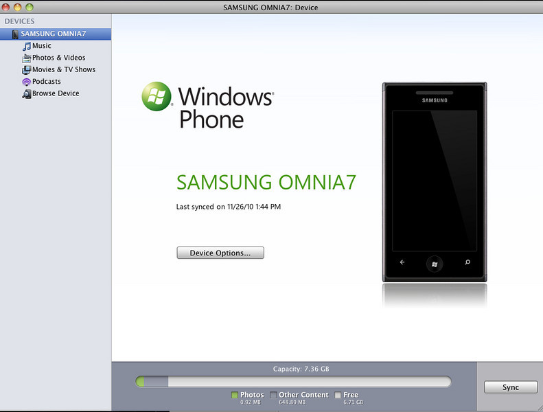 Sync Samsung Omnia 7 with iTunes in Mac