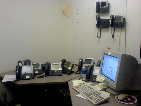 Picture of an office full of phones
