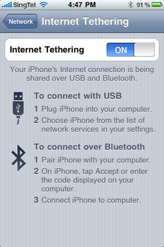 iPhone Internet Tethering Set Up