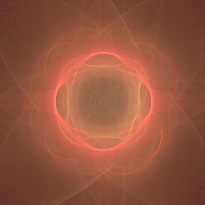 A fractal flame with dihedral symmetry.