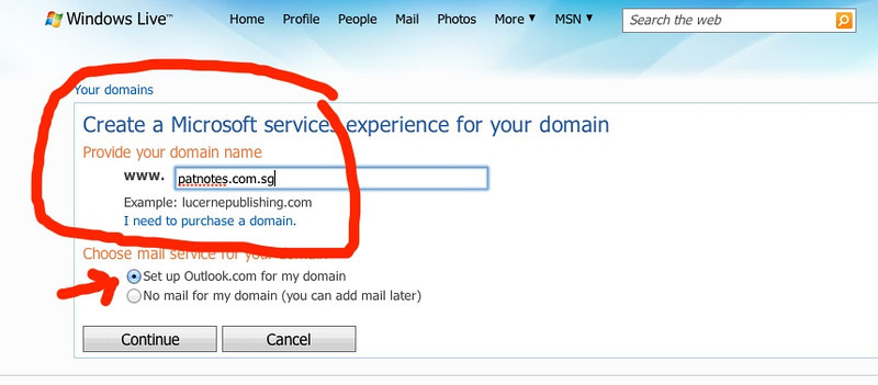 Setting up Free Microsoft Email for SG Domains