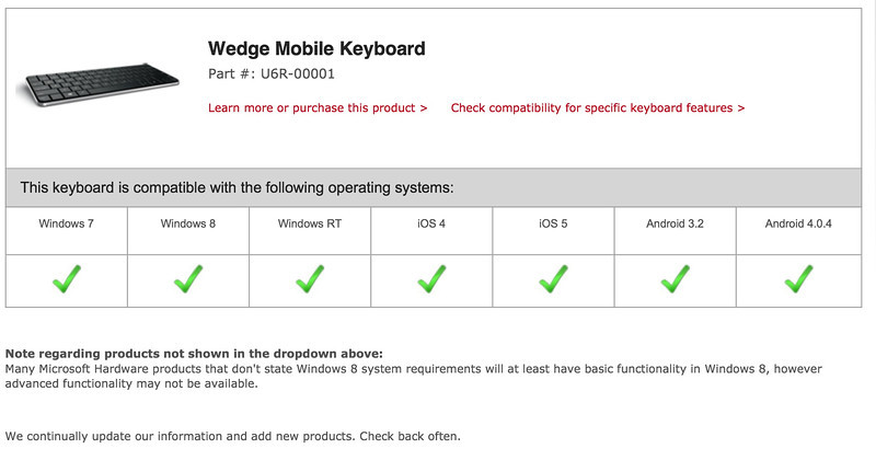 Microsoft Wedge Keyboard CAN WORK with iPad