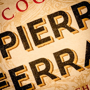 Pierre Ferrand Cognac label (detail), photo © 2015 Douglas M. Ford. All rights reserved.