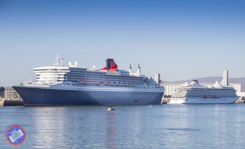 The Queen Mary 2 Docked Adjacent to the Historical Section of Quebec City (©simon@myeclecticimages.com)