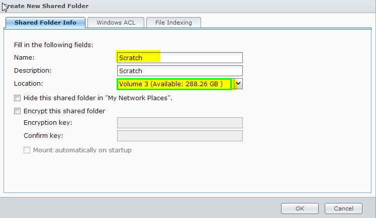 Setting up a new Shared Folder in Synology DSM