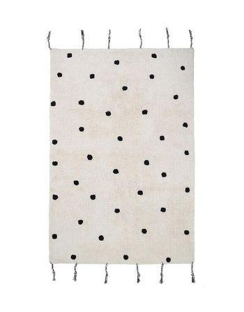 Nattiot tapijt Nümi – wit met zwarte stippen