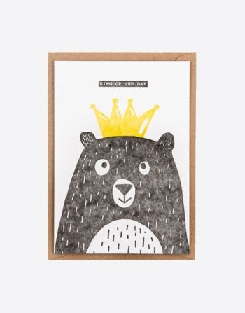 "Letterpress wenskaart ""King of the day"""