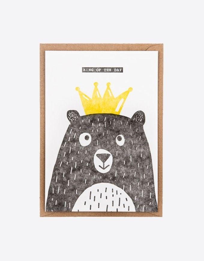 """Letterpress wenskaart """"King of the day"""""""