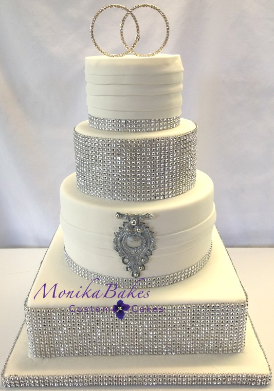 White And Silver Wedding Cake   Wedding Cake Flavors     white and silver wedding cake bling