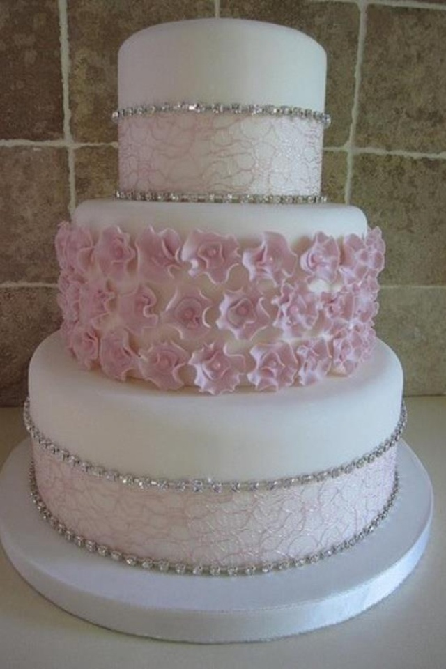 12 Pink White Wedding Cakes With Bling Photo   Wedding Cakes with     Wedding Cakes with Bling and Pink