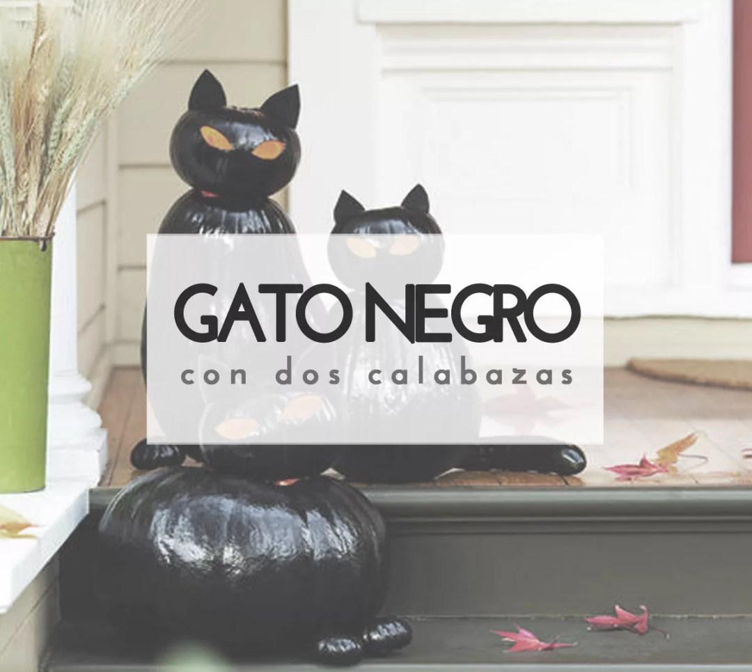 gato negro con calabazas para halloween