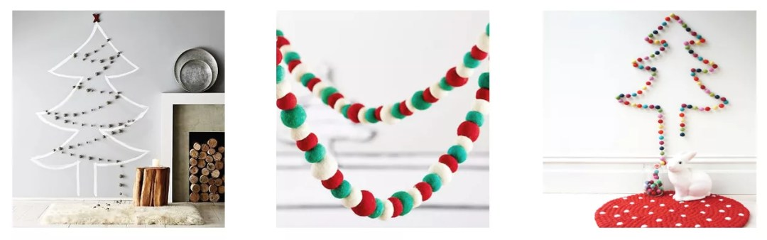 árbol de navidad con guirnalda de pompones