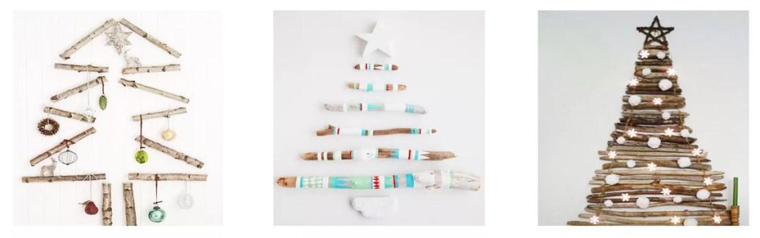 Árbol de navidad DIY con troncos