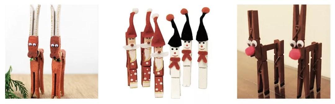 adornos navideños con pinzas