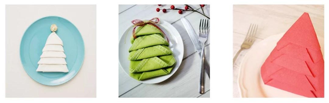 Árbol navideño con una servilleta