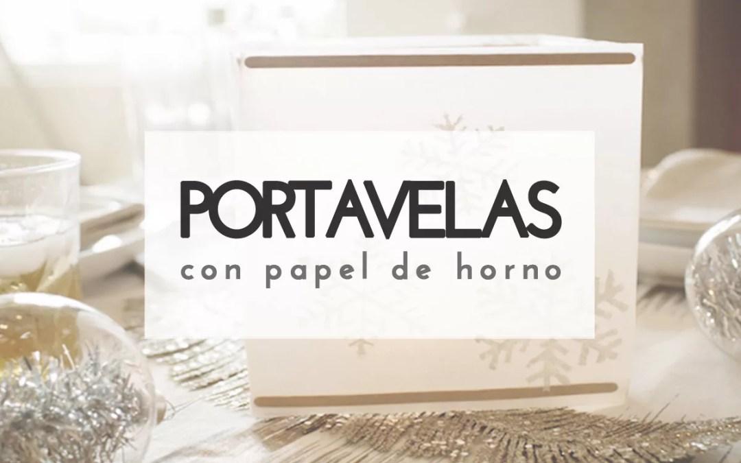 PORTAVELAS NAVIDEÑO CON PAPEL