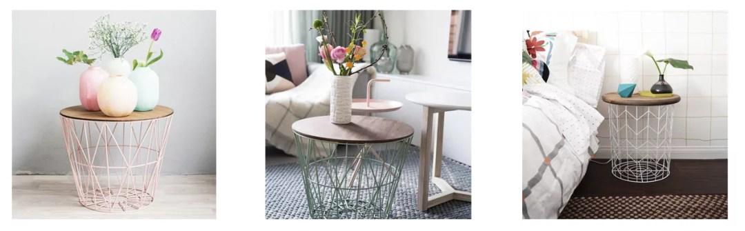 DIY mesa auxiliar con cesta