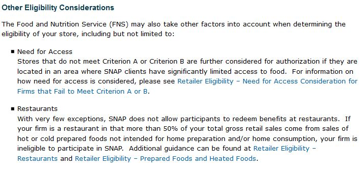 SNAP Store Eligibility Requirements