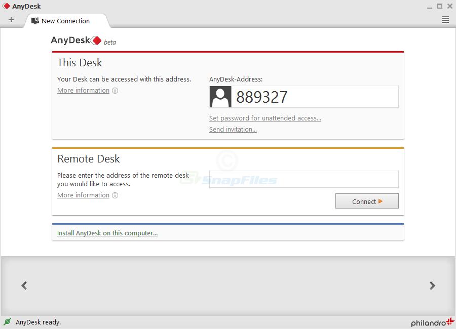AnyDesk screenshot and download at SnapFiles.com