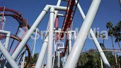 Amusement Park, Blue Sky, Coaster, Construction Crane, Nature, Plant, Roller Coaster, Sun Light, Theme Park, Tree, Utility Pole