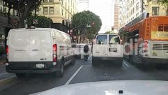 Ambulance, Asphalt, Automobile, Building, Bumper, Bus, Bus Stop, Car, Caravan, City, Face, Freeway, Highway, Human, License Plate, Machine, Minibus, Moving Van, Parking, Parking Lot, Pedestrian, People