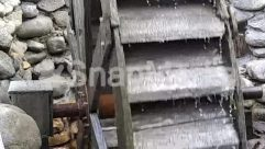 Building, Countryside, Gutter, Ice, Icicle, Machine, Nature, Outdoors, Snow, Tire, Water, Weaving, Wheel, Winter, Wood