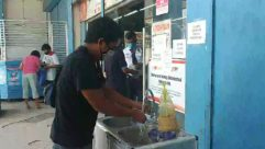 Person,Apparel,Clothing,Poster,Advertisement,Pants,Shorts,handwashing,prevention for covid-19,SOP before entry