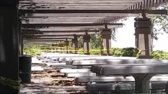 Porch, Patio, Pergola, Path, Walkway, Rail, Railway, Train Track, Transportation, Building, Canopy, Plant, Grass, Terrace, Steel